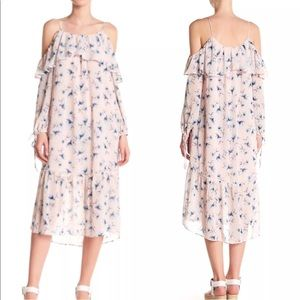 Moon River Cold Shoulder Floral Ruffled Pink Dress
